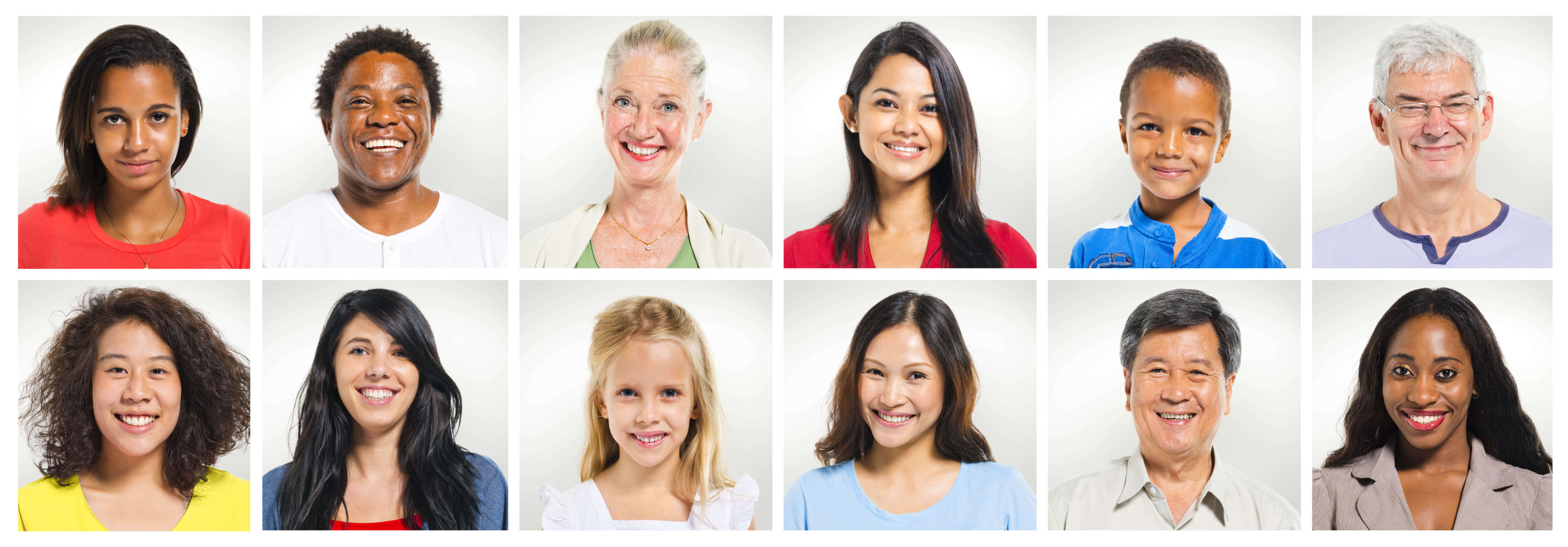 A group of multi-ethnic people. Individual photo boxes are arranged in an array. The boxes each contain a head-and-shoulders picture of a person smiling against a light gray background. The people are both male and female and range from young children to older adults.