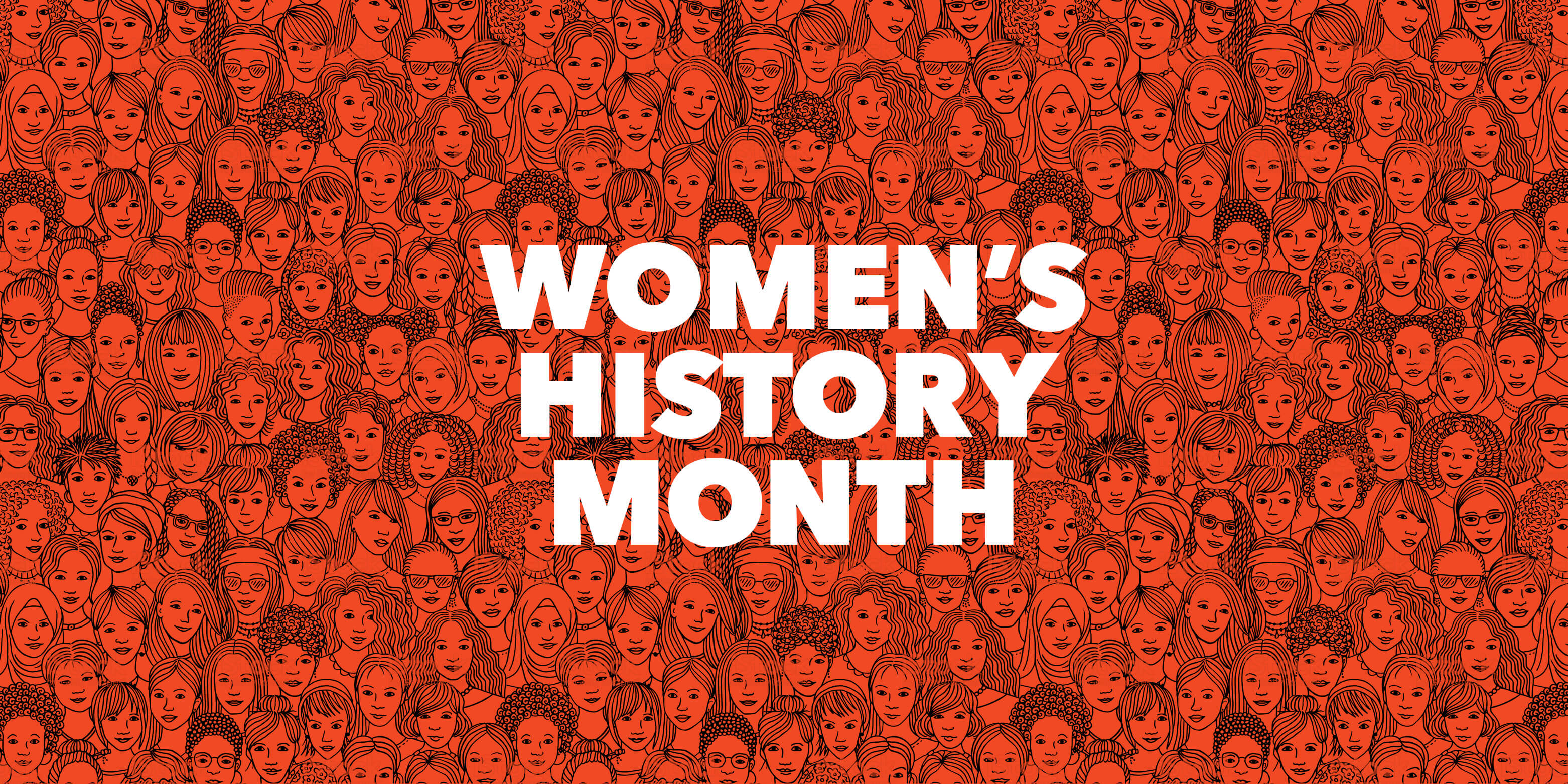 """""""Women's History Month"""" overlaid over persimmon illustration of diverse group of women"""