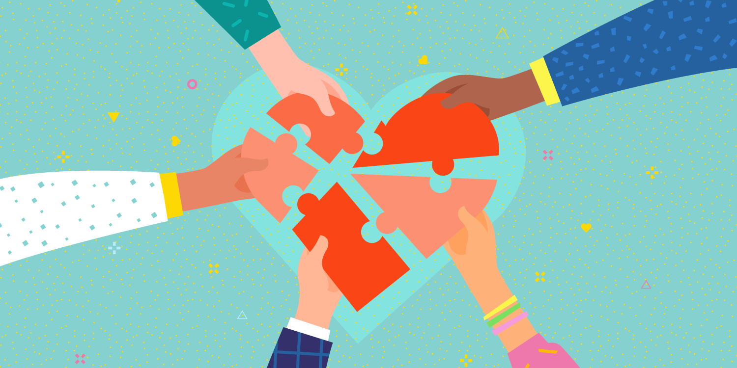 illustration of 5 hands holding puzzle pieces that come together to form a heart