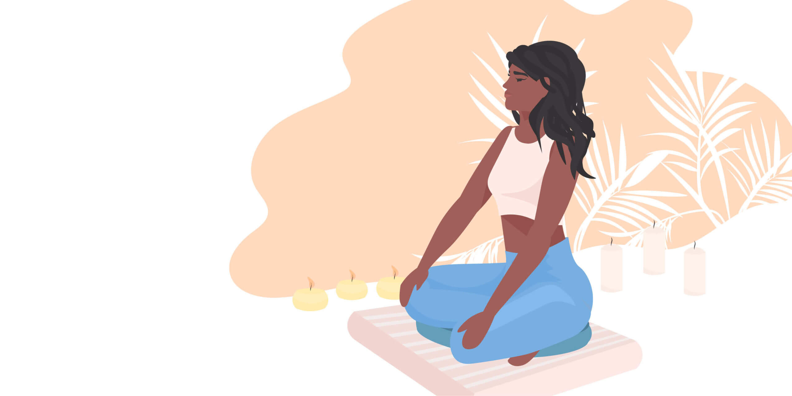 stylized illustration of an African American teen girl sitting in lotus pose on a meditation pillow. The background has a few candles and palm leaves.