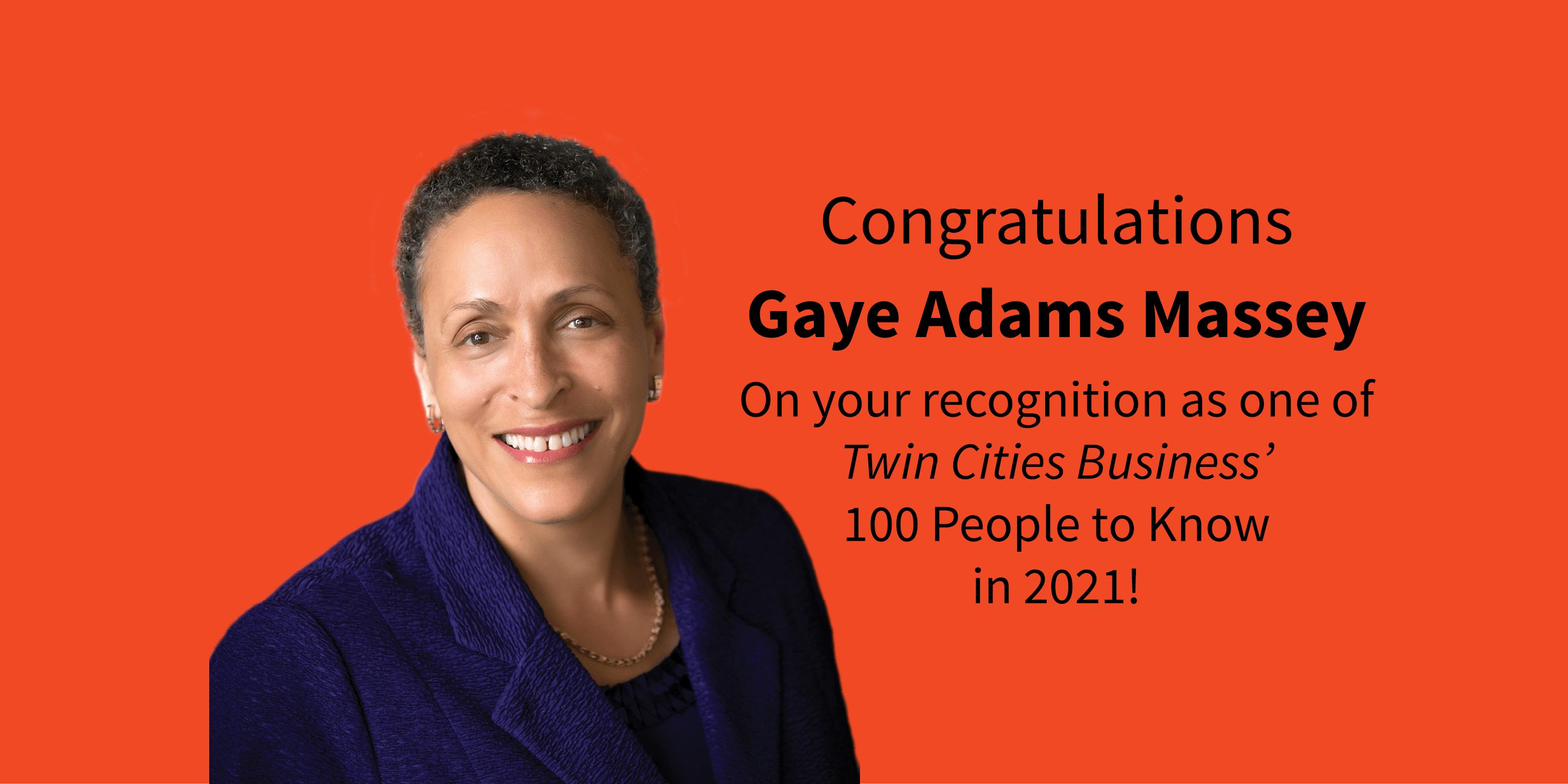 Gaye Adams Massey on orange background with congratulatory message beside her.