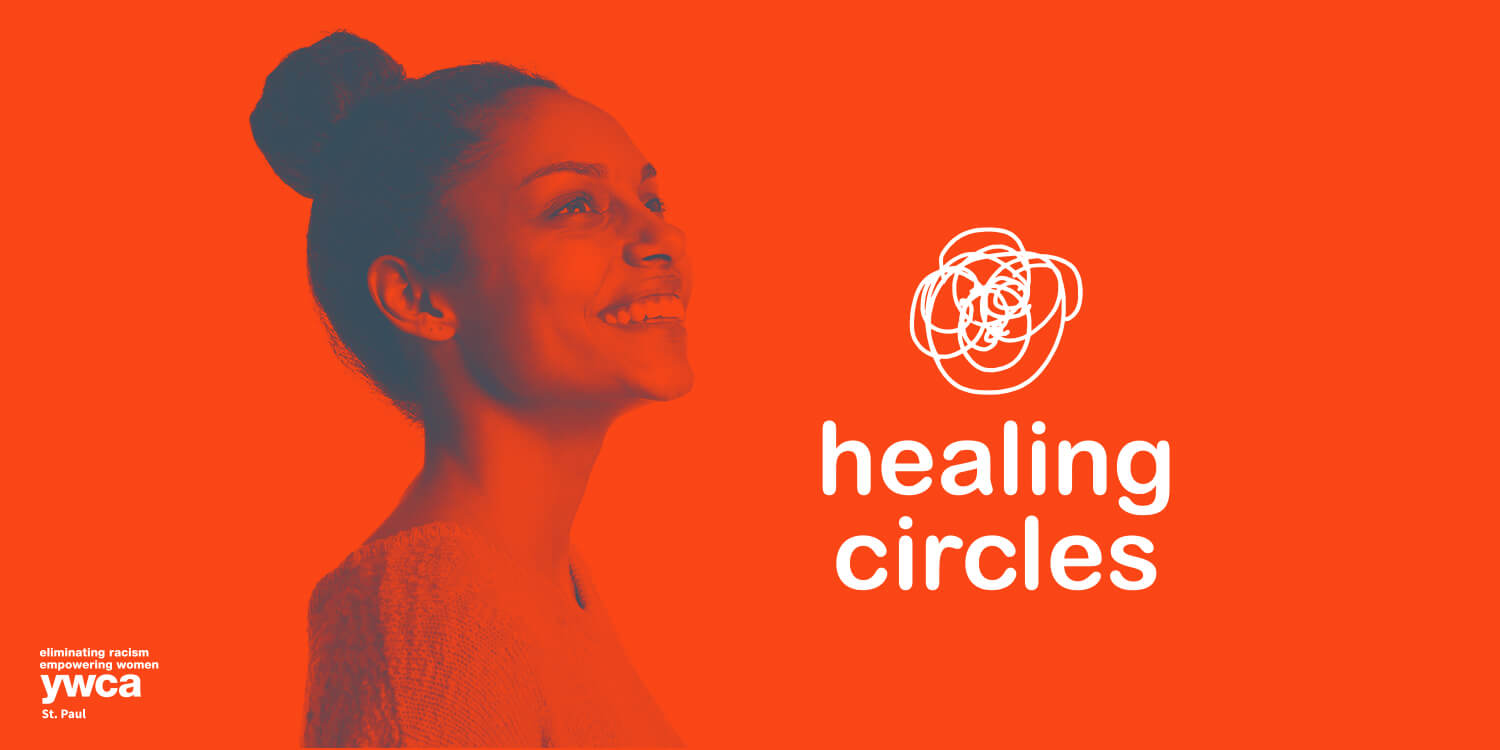 Young African American woman looking up and smiling, with Healing Circles logo to her right
