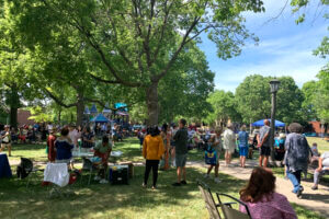 Crowd of people at outdoor Juneteenth celebration