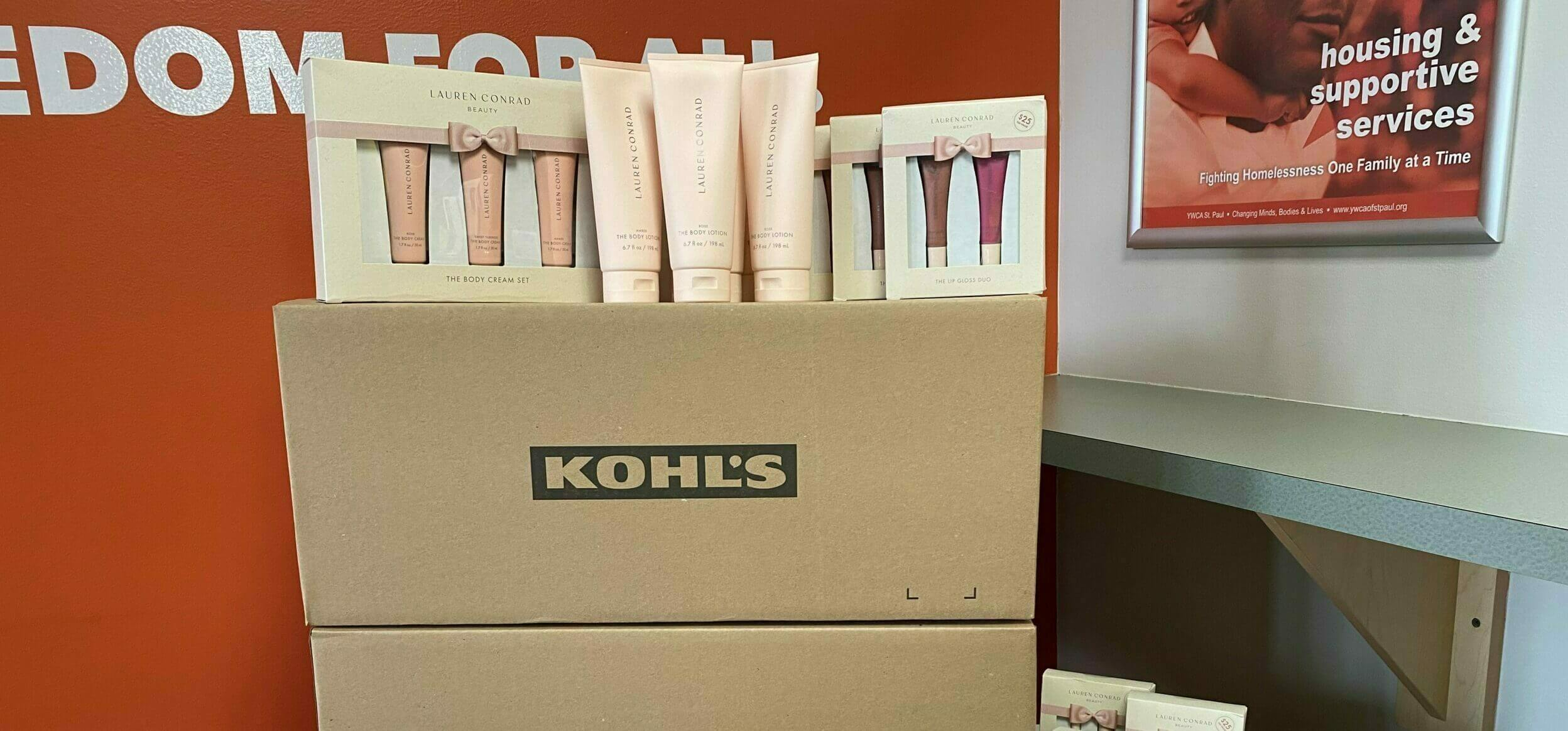 close up of Photo of hair and skincare products stacked on boxes with Kohl's logo