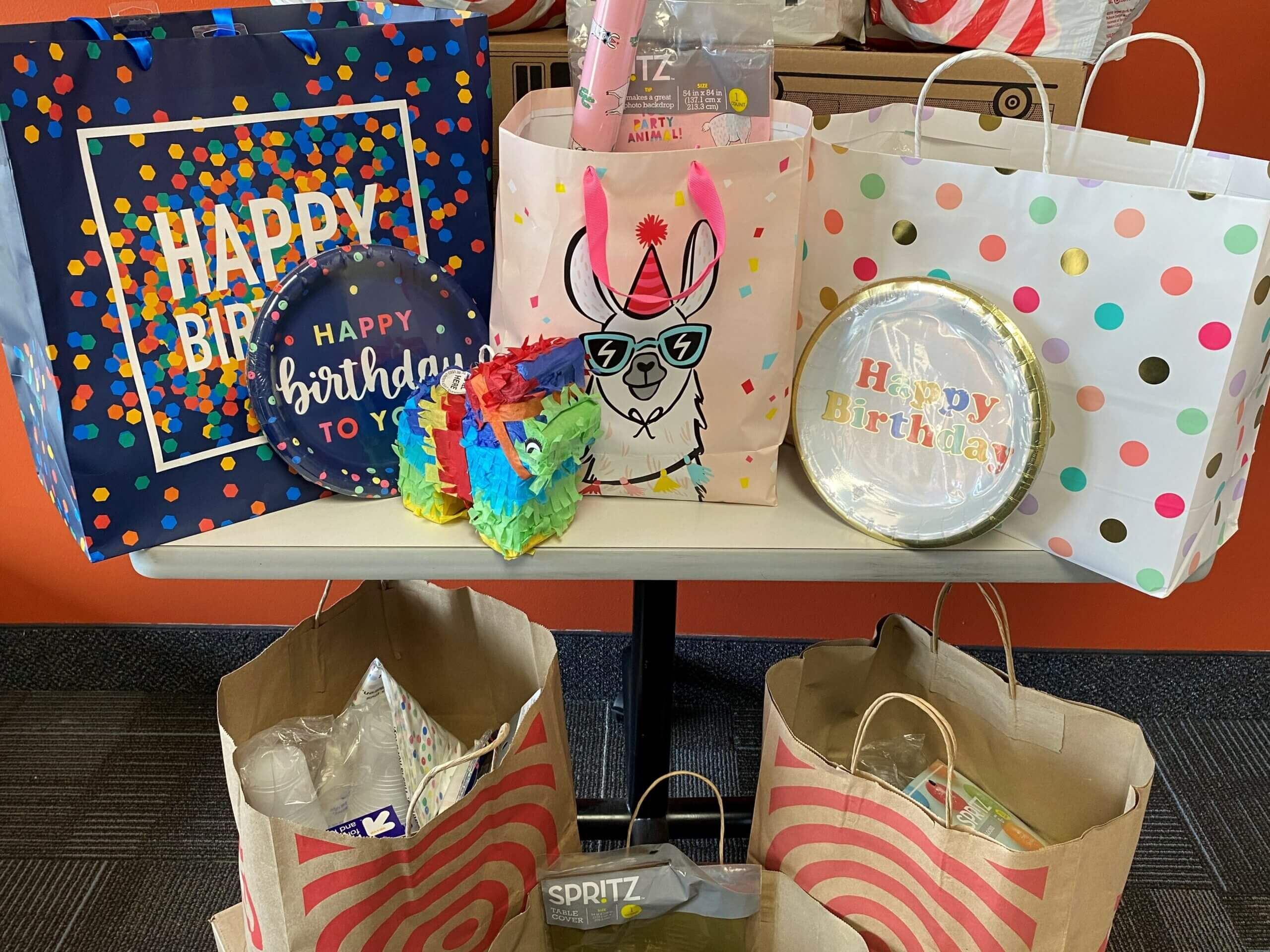 close up of birthday party kit bags